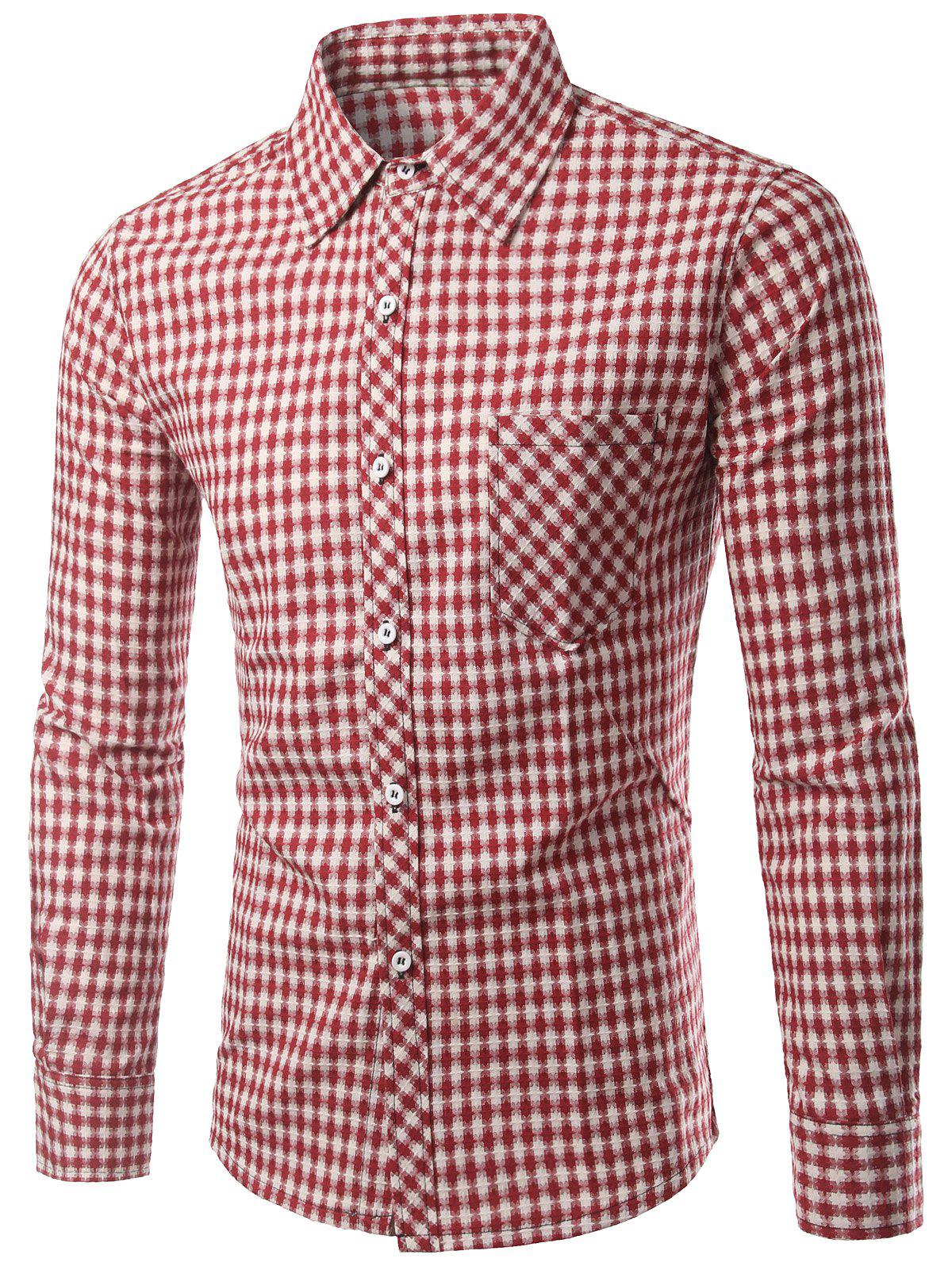 Small Grid Long Sleeve Slimming Men's Shirt - RED 3XL