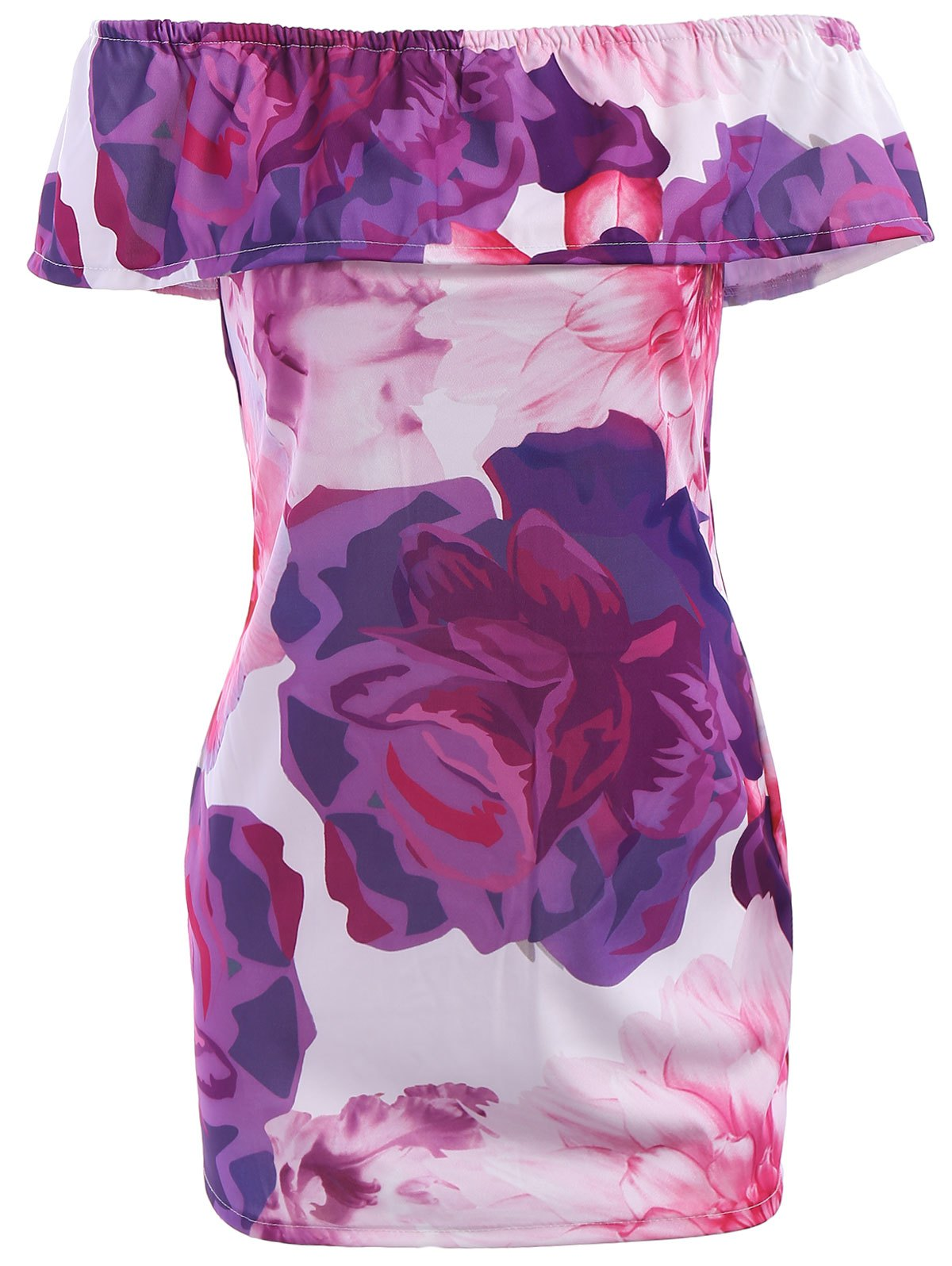 Charming Off-The-Shoulder Half Sleeves Floral Print Women's Dress - PINK/PURPLE S