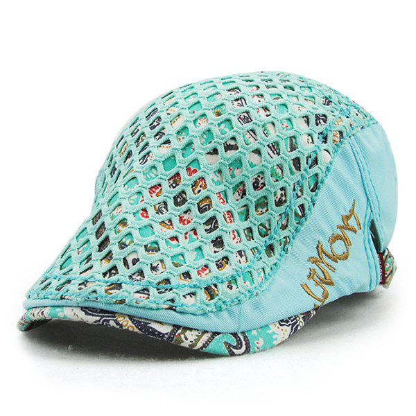 Chic Cut Out Mesh and Embroidery Embellished Printed Women's Ivy Hat - MINT GREEN