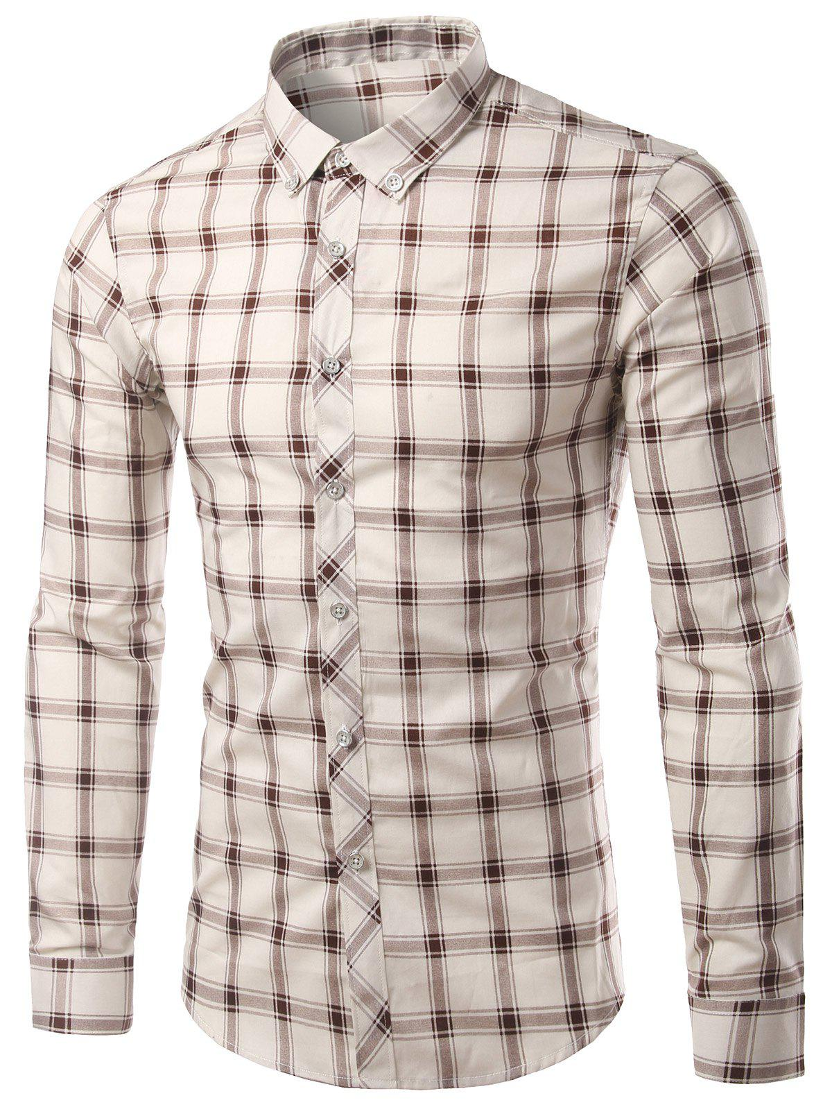 Plus Size Checked Long Sleeve Slimming Men's Shirt - COFFEE 4XL