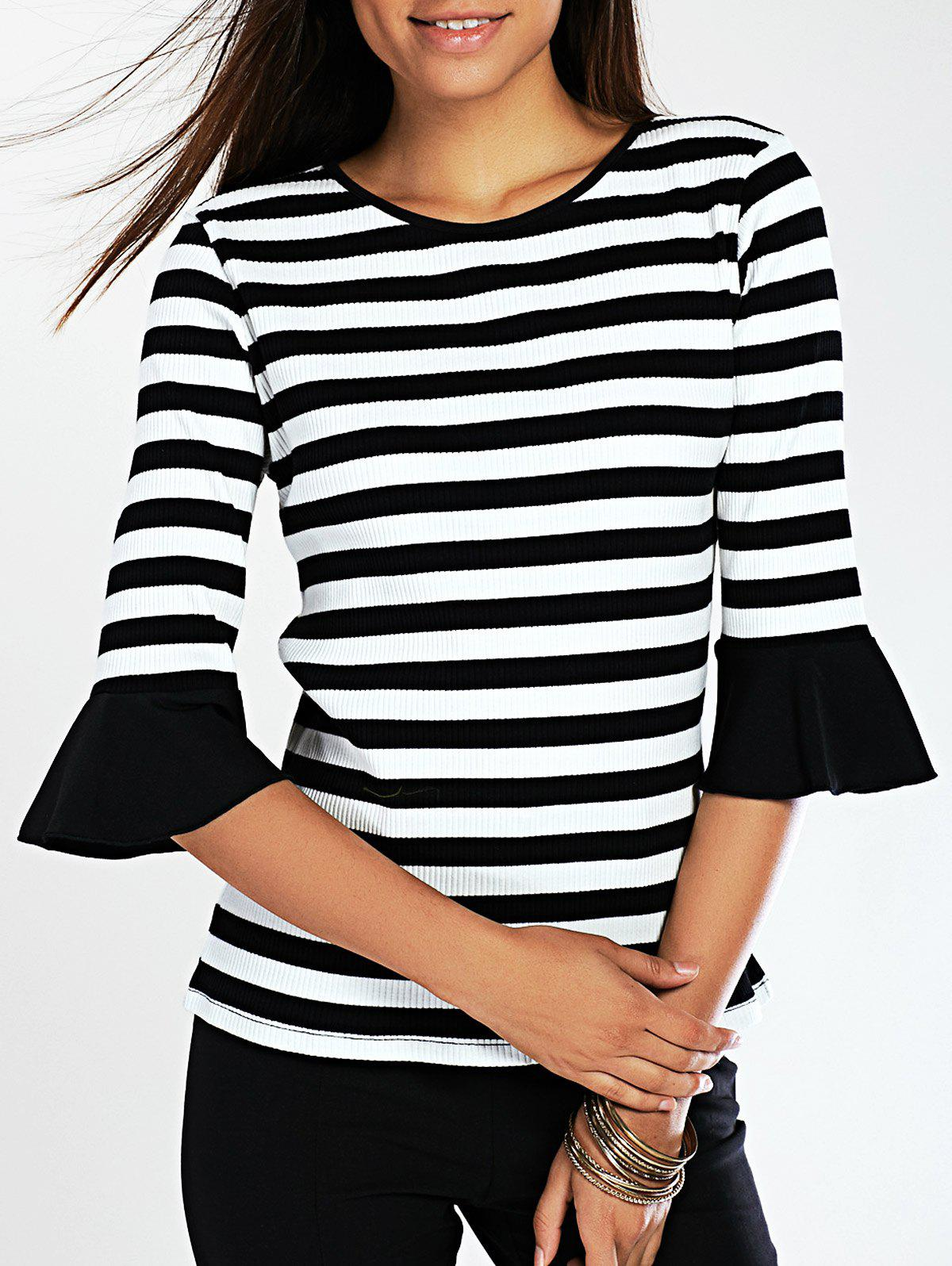 Stylish Striped Flare Sleeve Knitted T-Shirt - BLACK XL
