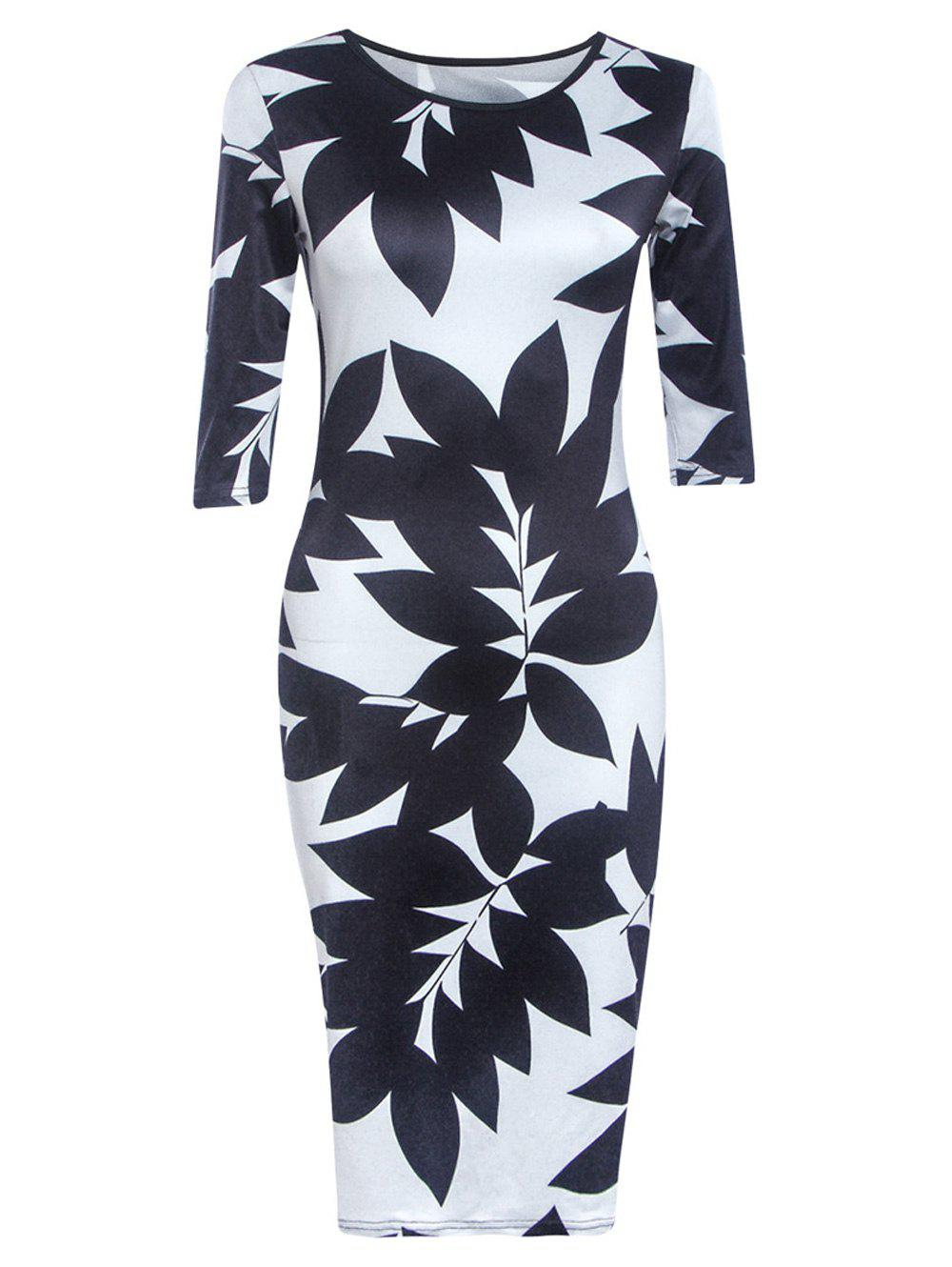 Chic Round Neck Half Sleeve Leaf Print Skinny Women's Dress - BLACK L