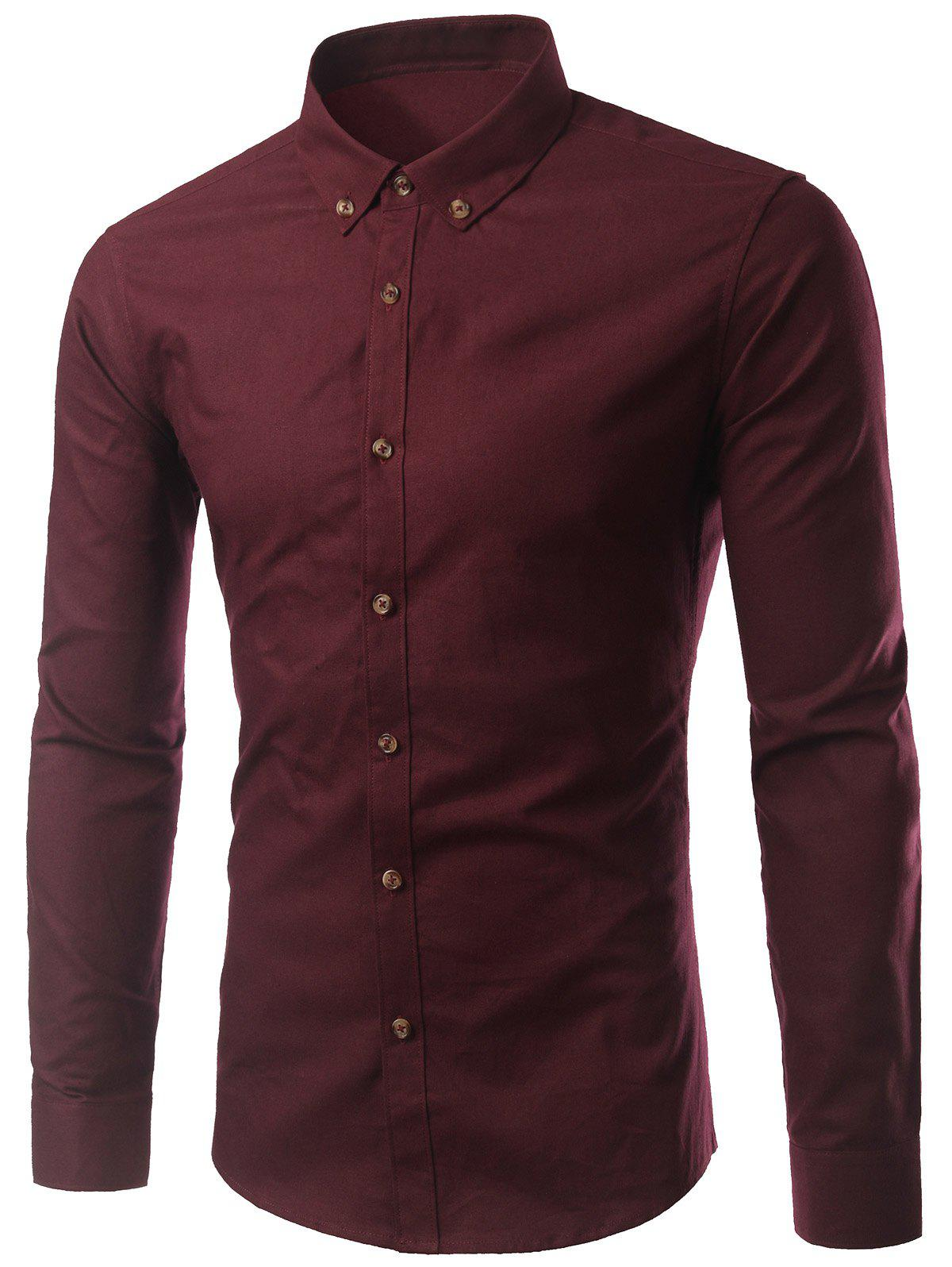 Plus Size Button-Down Long Sleeve Slimming Men's Shirt - WINE RED 5XL