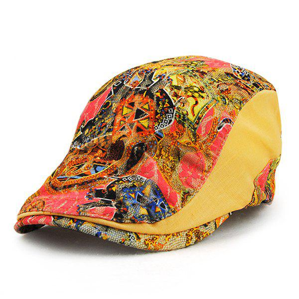 Chic Arab Printed Lace Embellished Outdoor Women's Ivy Hat - ORANGE YELLOW