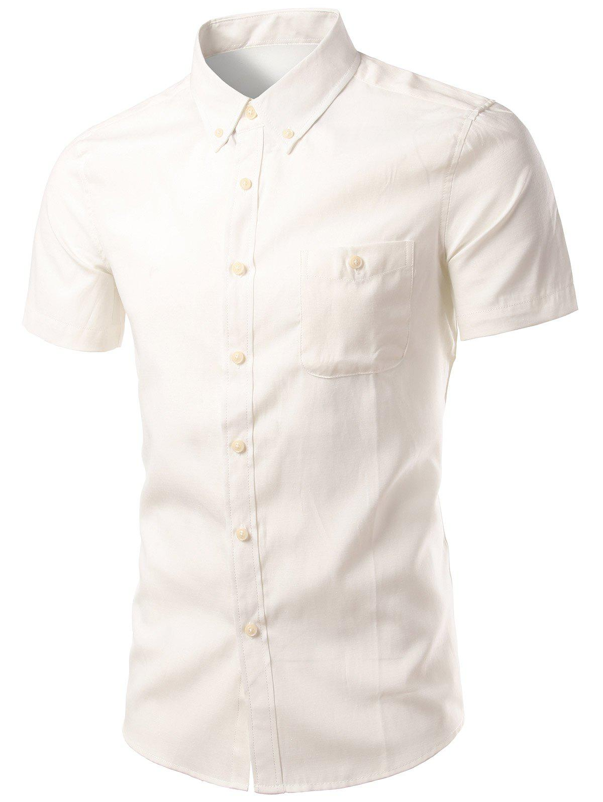 Plus Size Button-Down Short Sleeve Slimming Men's Shirt - WHITE 2XL