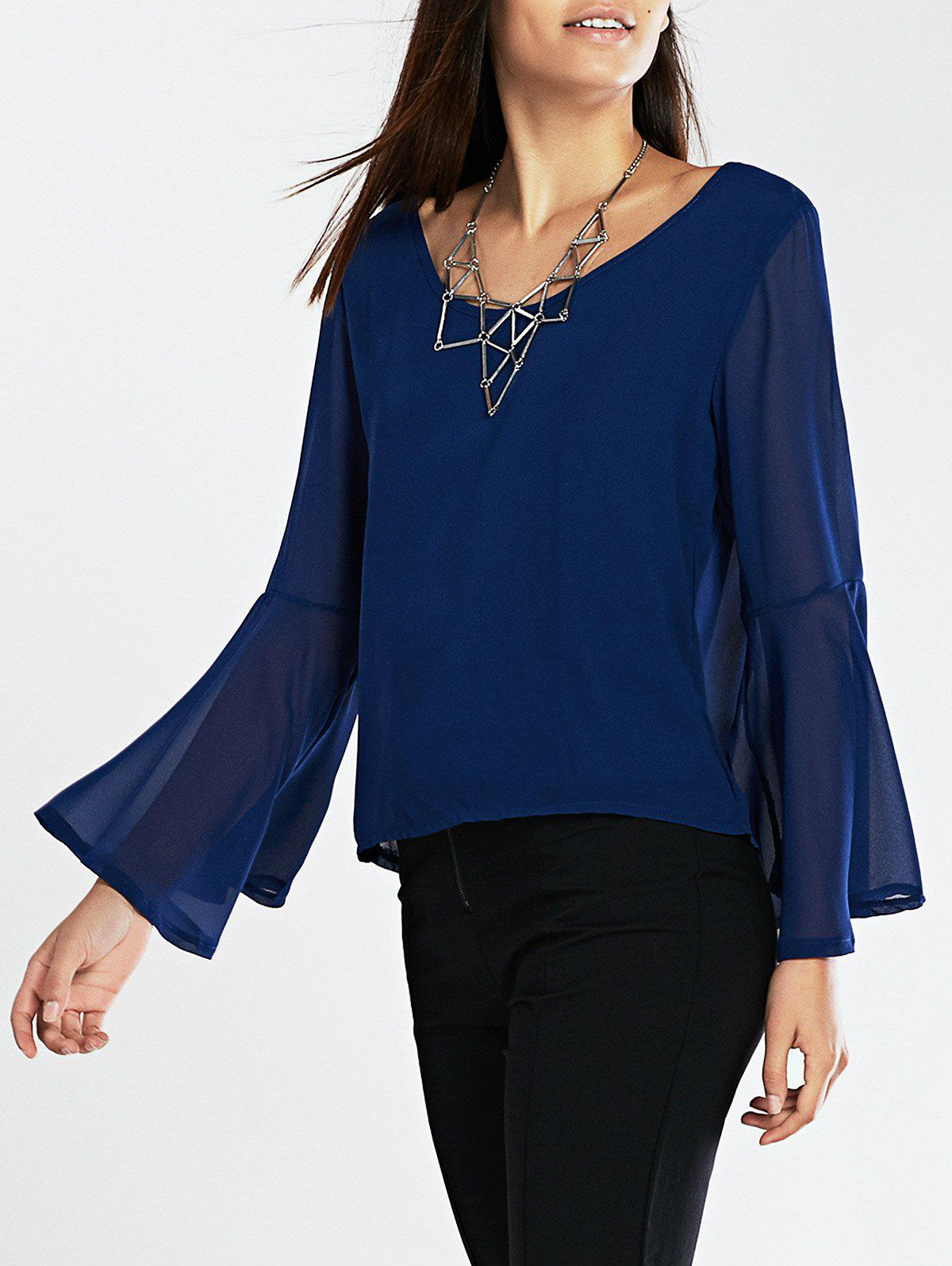 Flare Sleeves Loose-Fitting Blouse - DEEP BLUE 2XL