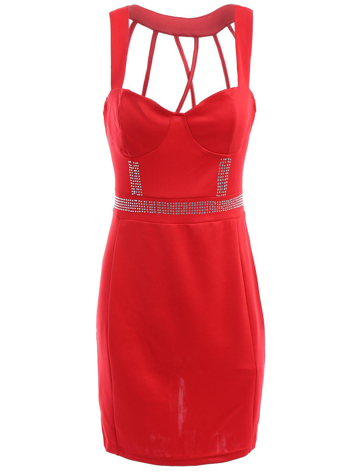 Charming Women's Sweetheart Neckline Backless Bodycon Dress - RED M