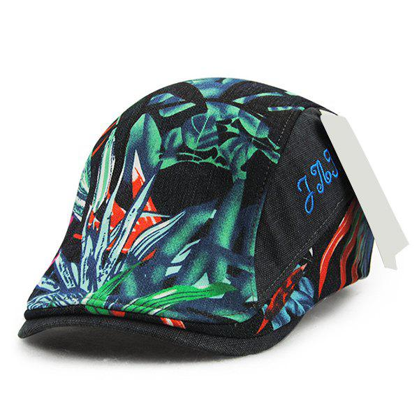 Chic Letter Embroidery Leaves Pattern Women's Ivy Hat - BLACK