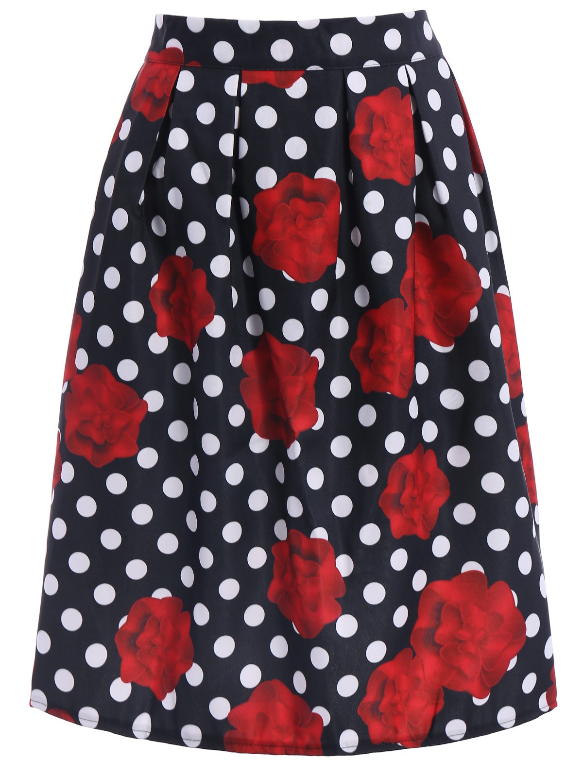 Ladylike High-Waisted A-Line Roses Print Women's Midi Skirt - BLACK/WHITE/RED L