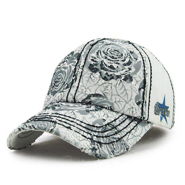 Chic Lace Embellished Big Roses Pattern Women's Baseball Hat - LIGHT GRAY