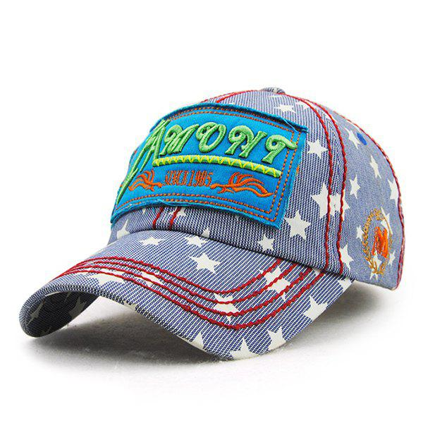 Chic Letter Embroidery Five-Pointed Star and Striped Link Chain Pattern Women's Baseball Hat - DEEP BLUE