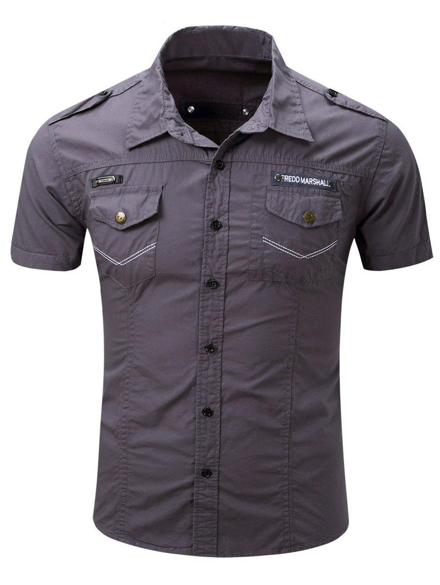 Men's Turn-Down Collar Pocket Design Cargo Shirt - GRAY L
