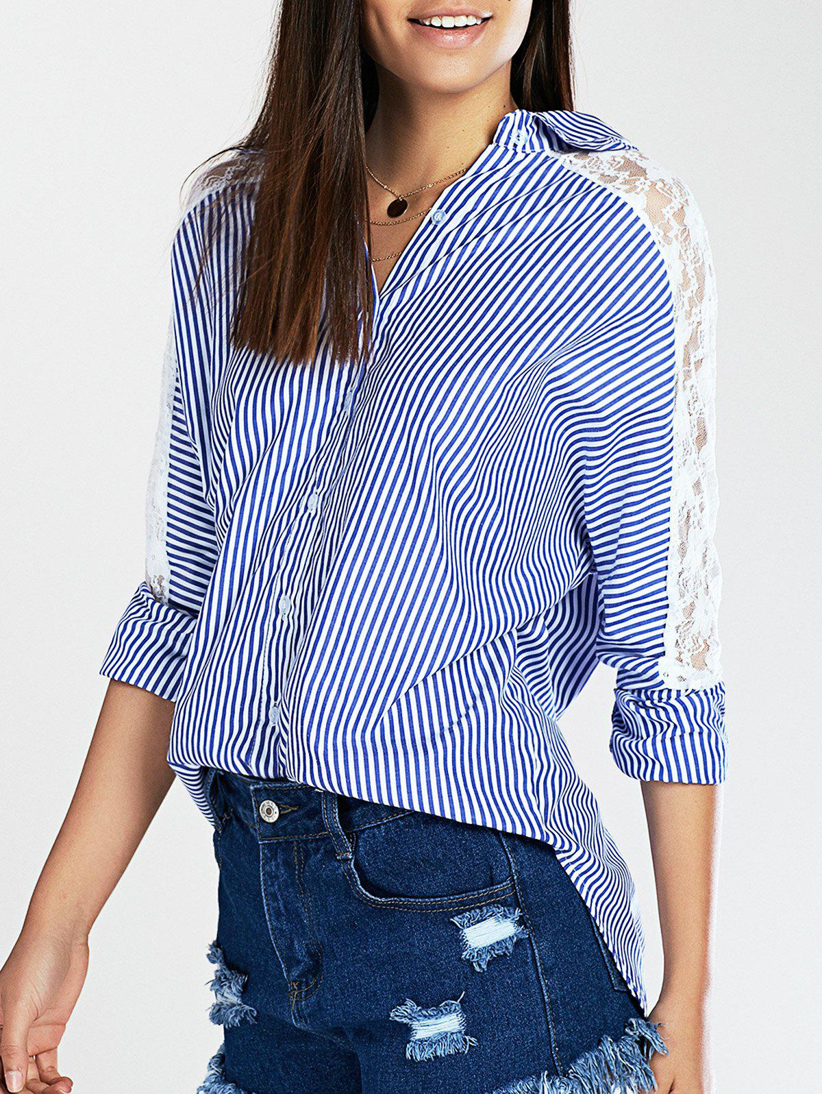 Lace Spliced Batwing Sleeve High-Low Striped Shirt - STRIPE 5XL