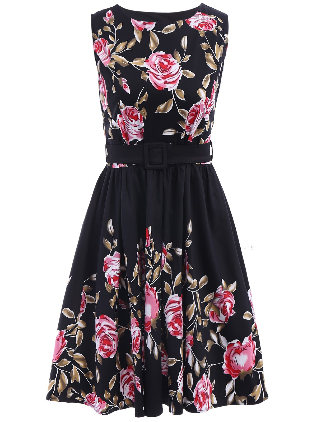 Fashionable Round Neck Sleeveless Floral Print Dress For Women