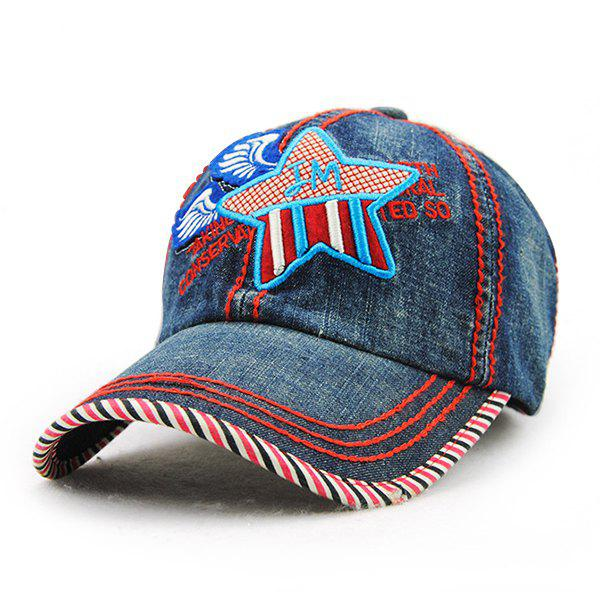 Chic Big Star Letter Wings Embroidery Denim Fabric Women's Baseball Hat - RED