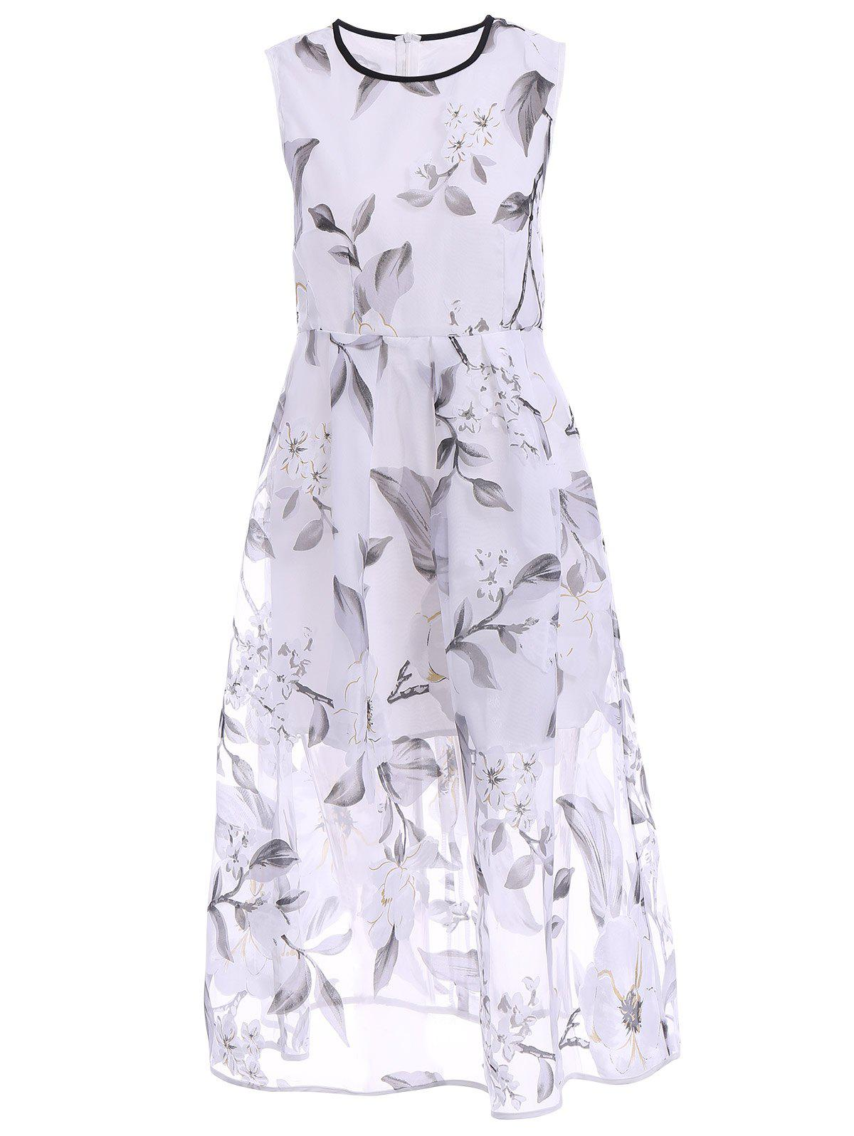 Sweet Jewel Neck Sleeveless Women's Organza Floral Dress - WHITE L