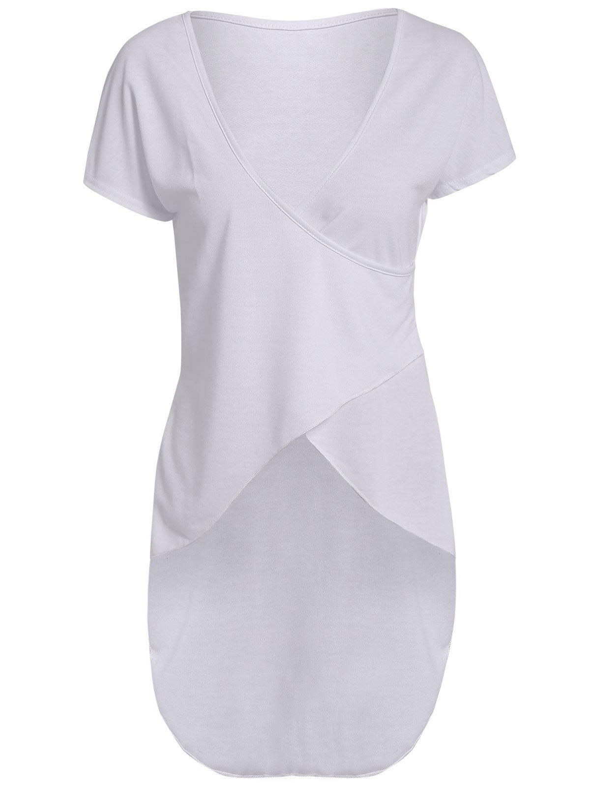 Trendy Plunging Neck Slit Asymmetric Pullover White T-Shirt For Women - WHITE M