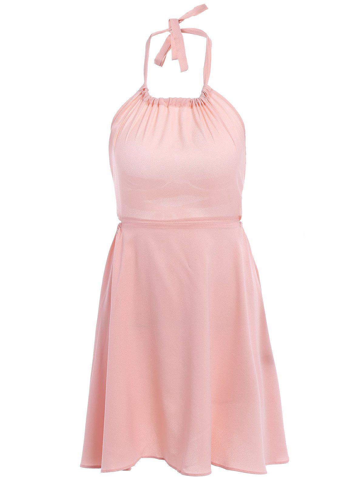 Stylish Halter Neck Sleeveless Backless Pink Women's Dress - PINK M