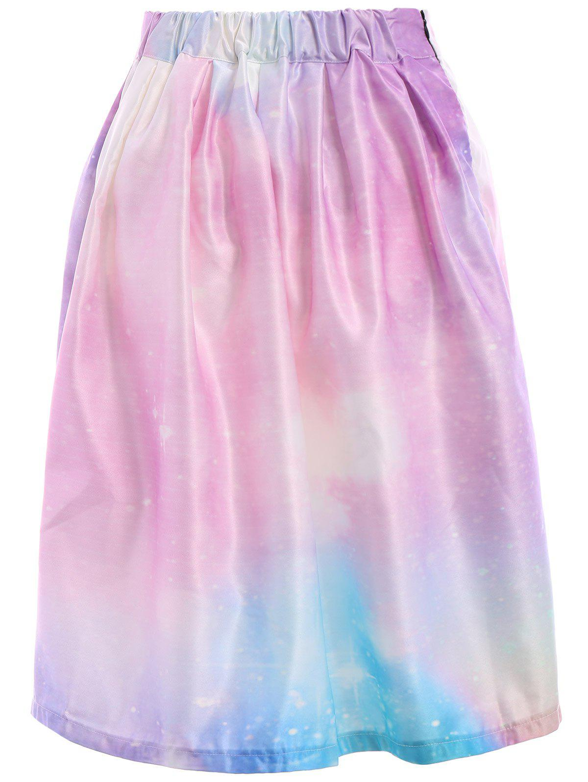 Chic Starry Sky Printed High Waist Pleated Trippy Skirt For Women - COLORMIX M