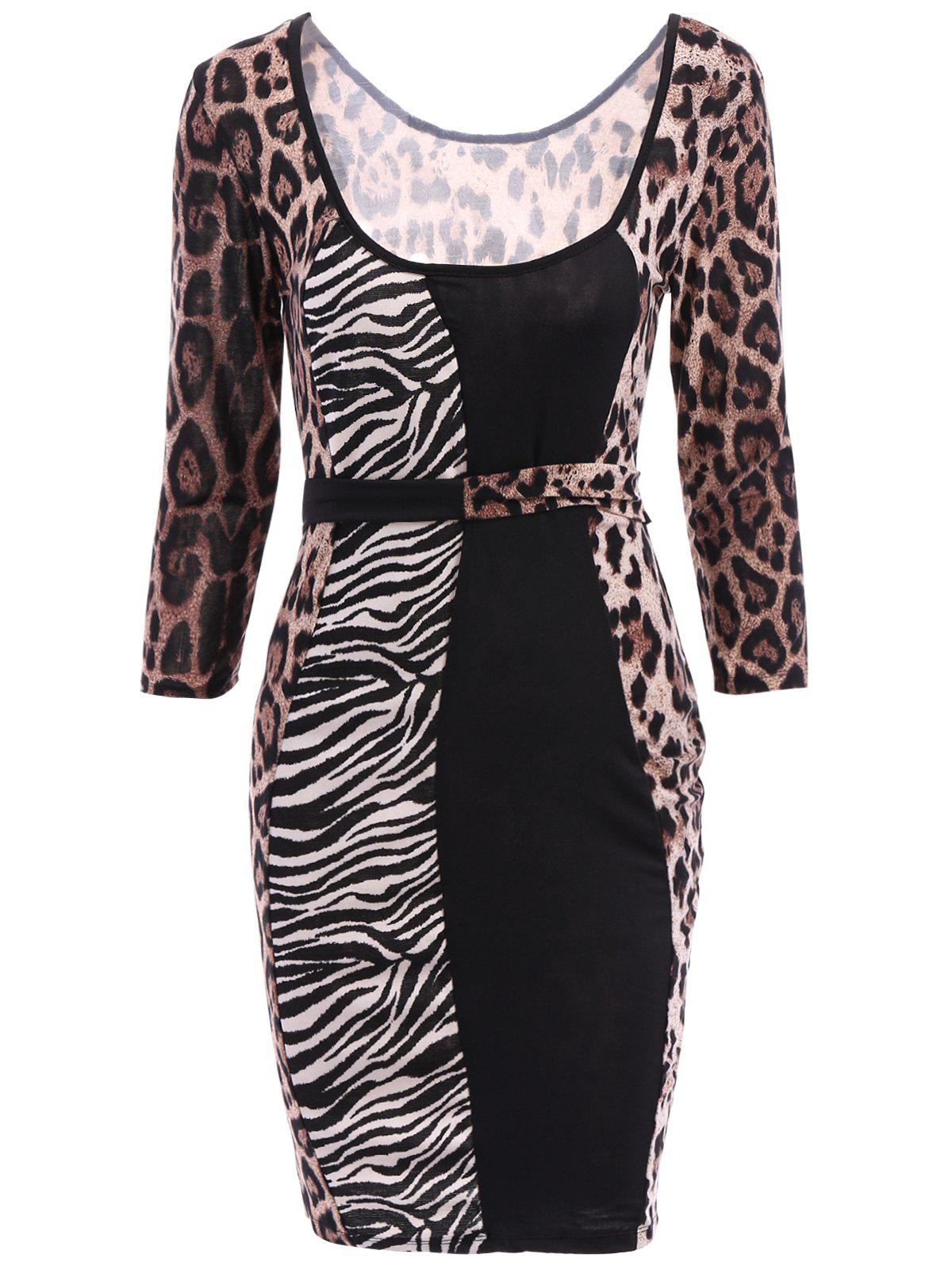 Stylish U-Neck Long Sleeve Slimming Leopard Print Women's Dress - LEOPARD ONE SIZE(FIT SIZE XS TO M)