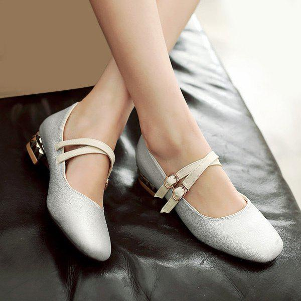 Trendy Sequined Cloth and Square Toe Design Women's Flat Shoes