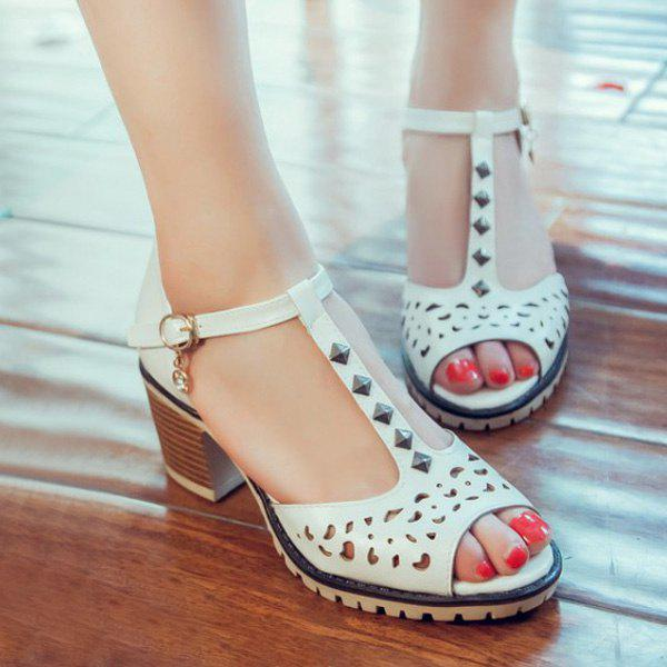 Hollow Out Studded T-Strap Sandals - WHITE 38