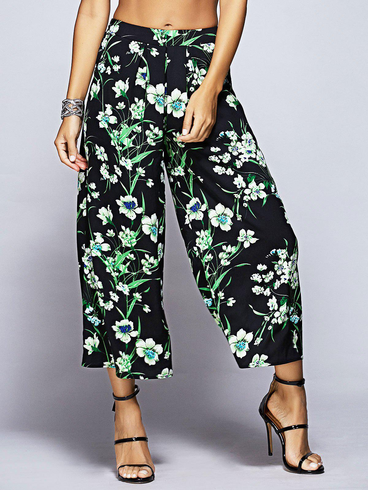 Stylish Printing Nine Minutes Pants For Women - BLACK/GREEN S
