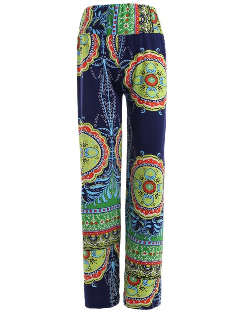Stylish Women's Elastic Waist Multi Pattern Print Pants - BLUE/GREEN ONE SIZE(FIT SIZE XS TO M)