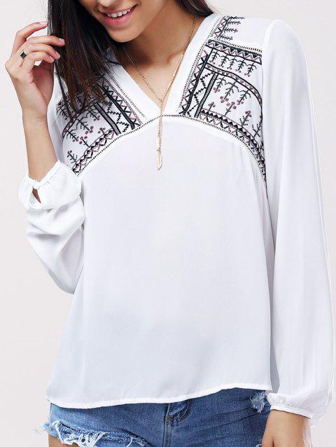 V-cou brodé à manches longues Blouse s 'Casual femmes - Blanc ONE SIZE(FIT SIZE XS TO M)