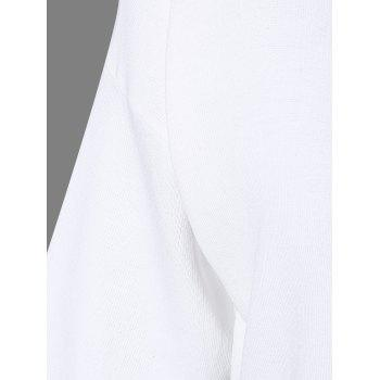 Femmes Casual s  'V-Neck Solid Color Slit manches courtes Tricots - Blanc ONE SIZE(FIT SIZE XS TO M)