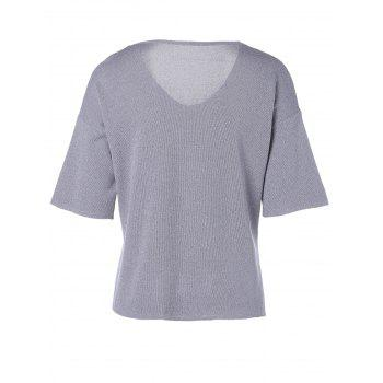 Femmes Casual s  'V-Neck Solid Color Slit manches courtes Tricots - gris foncé ONE SIZE(FIT SIZE XS TO M)