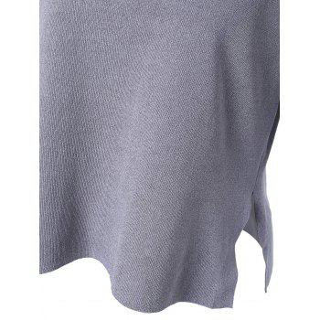 Casual Women's V-Neck Solid Color Slit Short Sleeves Knitwear - ONE SIZE(FIT SIZE XS TO M) ONE SIZE(FIT SIZE XS TO M)