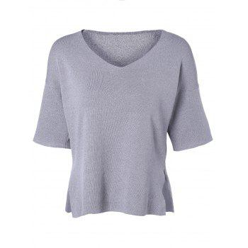 Casual Women's V-Neck Solid Color Slit Short Sleeves Knitwear - DEEP GRAY DEEP GRAY