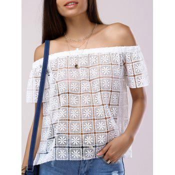Fashionable Short Sleeves Off-The-Shoulder Cut-Out Lace Blouse For Women - WHITE WHITE