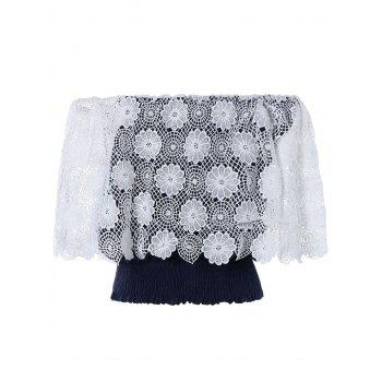 Off The Shoulder Lace Crochet Crop Top For Women