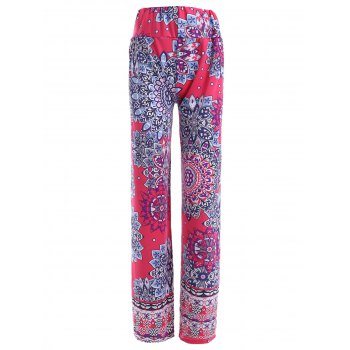 Stylish Women's Elastic Waist Multi Pattern Print Pants