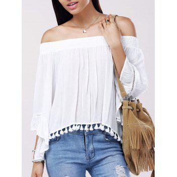 Buy Casual Women's Solid Color Boat Neck Fringe Bell Sleeves Blouse WHITE