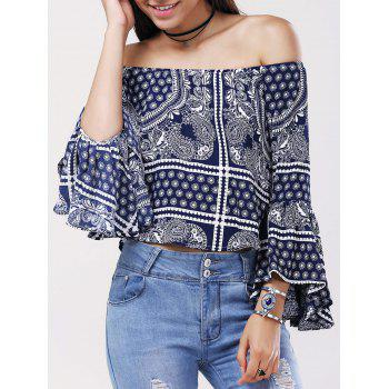 Ethnic Women's Off The Shoulder Tribal Print Bell Sleeves Blouse