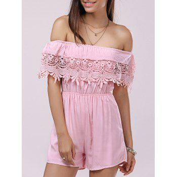 Casual Women's Solid Color Off The Shoulder  Lace Romper