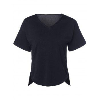 Casual Women's V-Neck Solid Color Asymmetric Short Sleeves Knitted T-Shirt