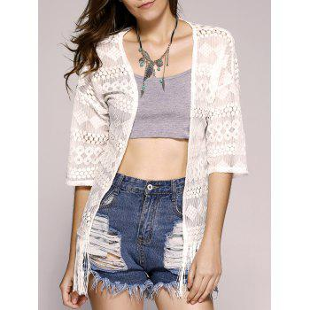 Fashionable Short Sleeves Fringe Lace Openwork Kimono For Women
