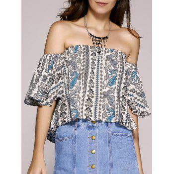 Ethnic Women's Style Paisley Printed Off The Shoulder Crop Top