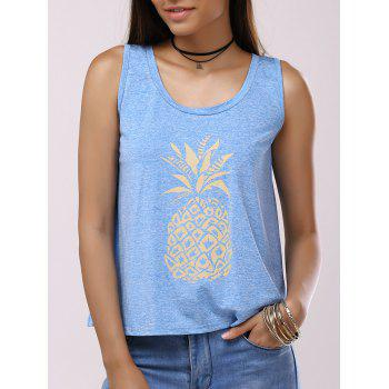 Fashionable Woman's Pineapple Print Black Cross Splice Backless Tank Top