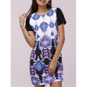 Fashionable Woman's Short Sleeve Scoop Neck Printing Dress