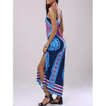 Fashionable Woman's Spaghetti Strap Back Drawstring Slit Printing Dress