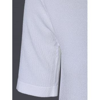 Scoop Neck Tie Solide Couleur manches courtes Tricots s 'Casual Femmes - Blanc ONE SIZE(FIT SIZE XS TO M)