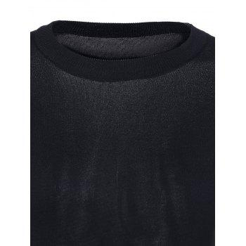 Casual Women's Scoop Neck Solid Color Tie Short Sleeves Knitwear - BLACK ONE SIZE(FIT SIZE XS TO M)