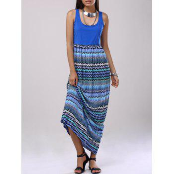 Fashionable Women's U-Neck Color Block Splice Stripe Dress