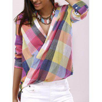 Fashionable Shirt Collar Cross Asymmetric Long Sleeves Plaid Blouse For Women