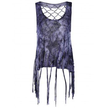 Fashionable Women's Scoop Neck Weave Fringe Tank Top